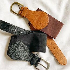 BDG Stretch Belt Set of 2 Black & Brown Size M/L